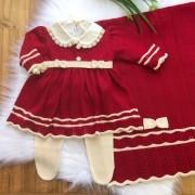 Saída de Maternidade Bailarina - Vermelho Escuro e Off white