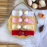 Faixinha Luxo Laço Strass - ( Rosa / Branco / Off White)