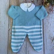 Macacão tricô Trenzinho  ( Azul/Branco )