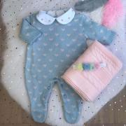 Saída de Maternidade Corações - Azul/Rosa