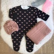 Saída de Maternidade Corações - Marinho/ Rosê