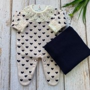 Saída de Maternidade Corações - Rosa/Marinho