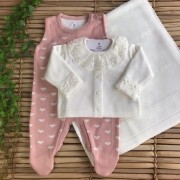 Saída de Maternidade Love - Off white/ Rosê