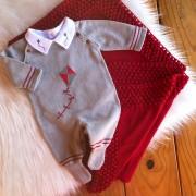 Saída de Maternidade Pipa - Cinza e vermelho