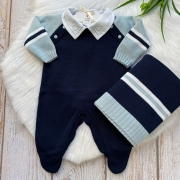 Saída De Maternidade Raglan - Marinho/ Azul