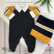 Saída De Maternidade Raglan - Marinho/Mostarda