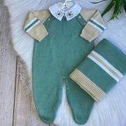 Saída De Maternidade Raglan - Verde/Areia