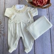 Saída de Maternidade Renda - Off white