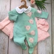 Saída de Maternidade Rosetas - Verde e Rosa