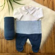 Saída de Maternidade Tricolor - Azul, Jeans e Branco