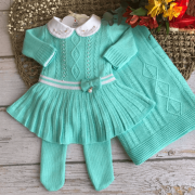 Saída de Maternidade Vestido Fernanda - Verde Tiffany
