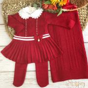 Saída de Maternidade Vestido Fernanda - Vermelho Escuro