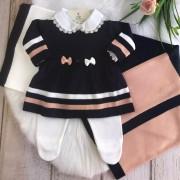 Saída de Maternidade Vestido Listrado - Marinho