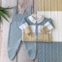 Saída de Maternidade  Aran - Azul/Areia/Branco