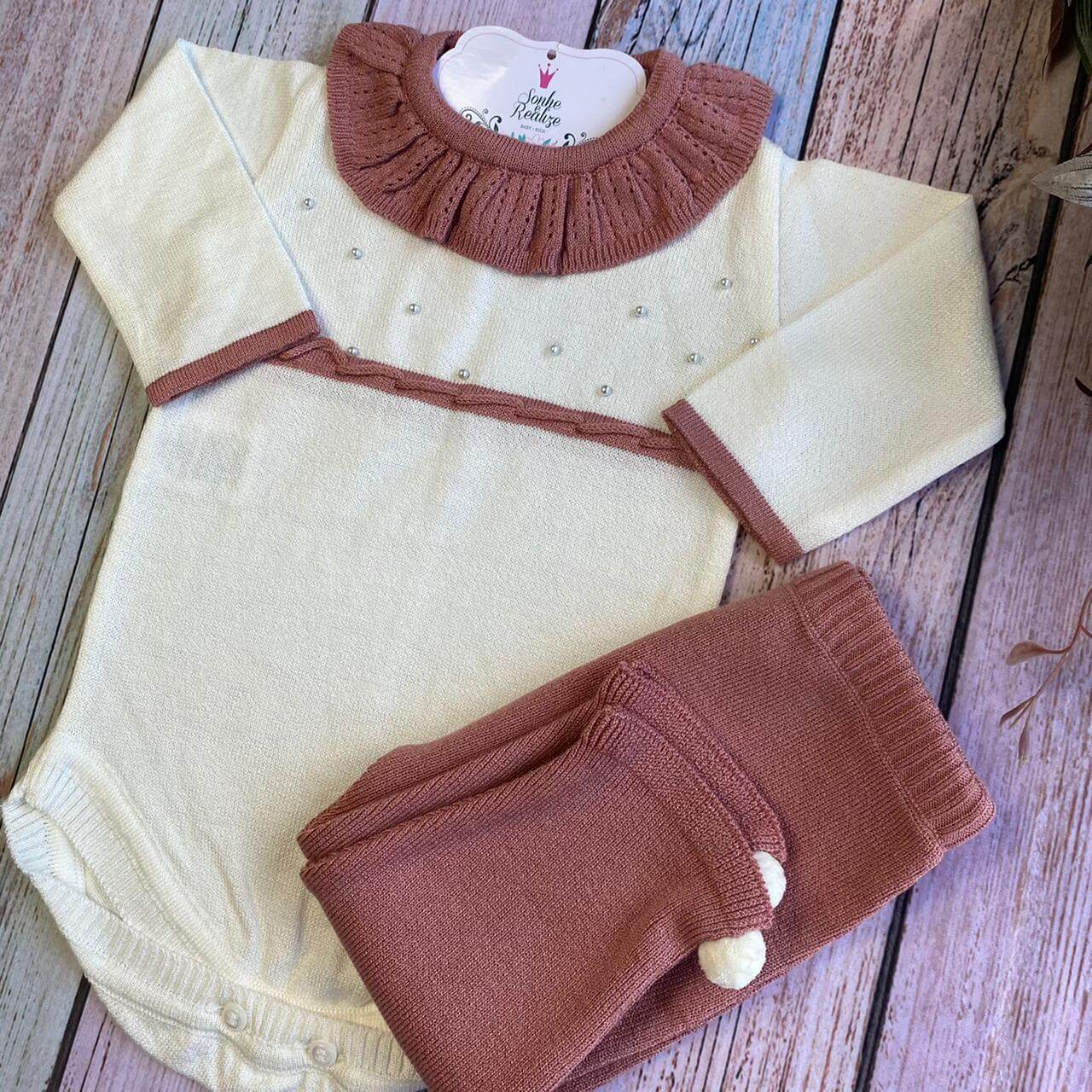 Conjunto Body + Calça * Tricô Modal  Cloe  -  Rosê/ Off white