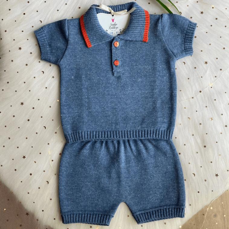 Conjunto Polo Blusa e Shorts  ( Azul Jeans )