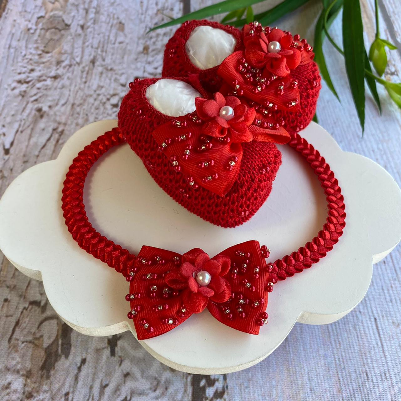 Conjunto Sapatinho Aurora Luxo - Vermelho