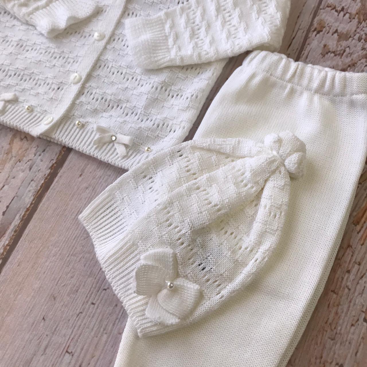 Conjunto Sarah *3 peças ( Casaco + calça + touca) - Branco