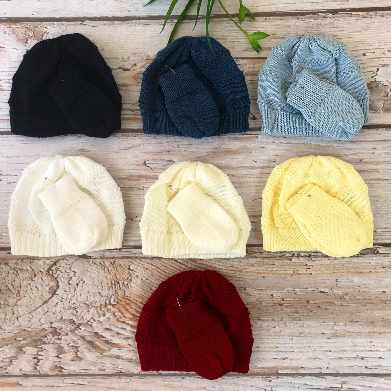 Conjunto Touca e Luva - ( Amarelo / Marinho / Azul / Jeans / Bordô / Off White / Branco )