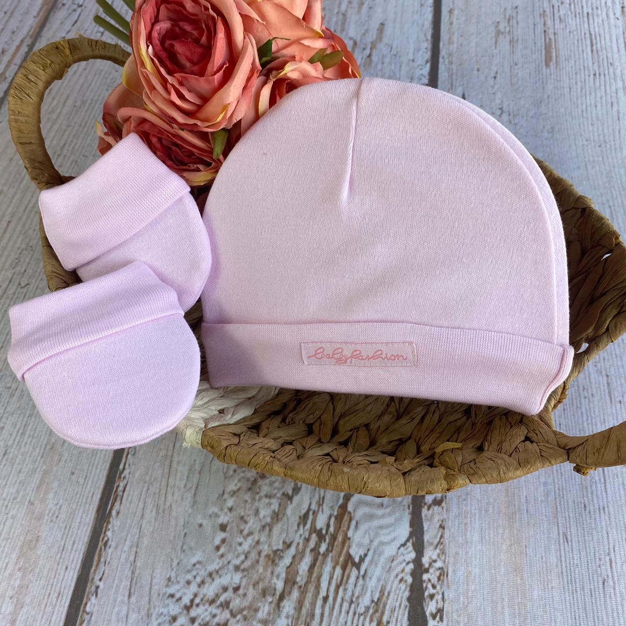 Conjunto Touca e Luva Suedine  - ( Rosa/ Azul / Off White)