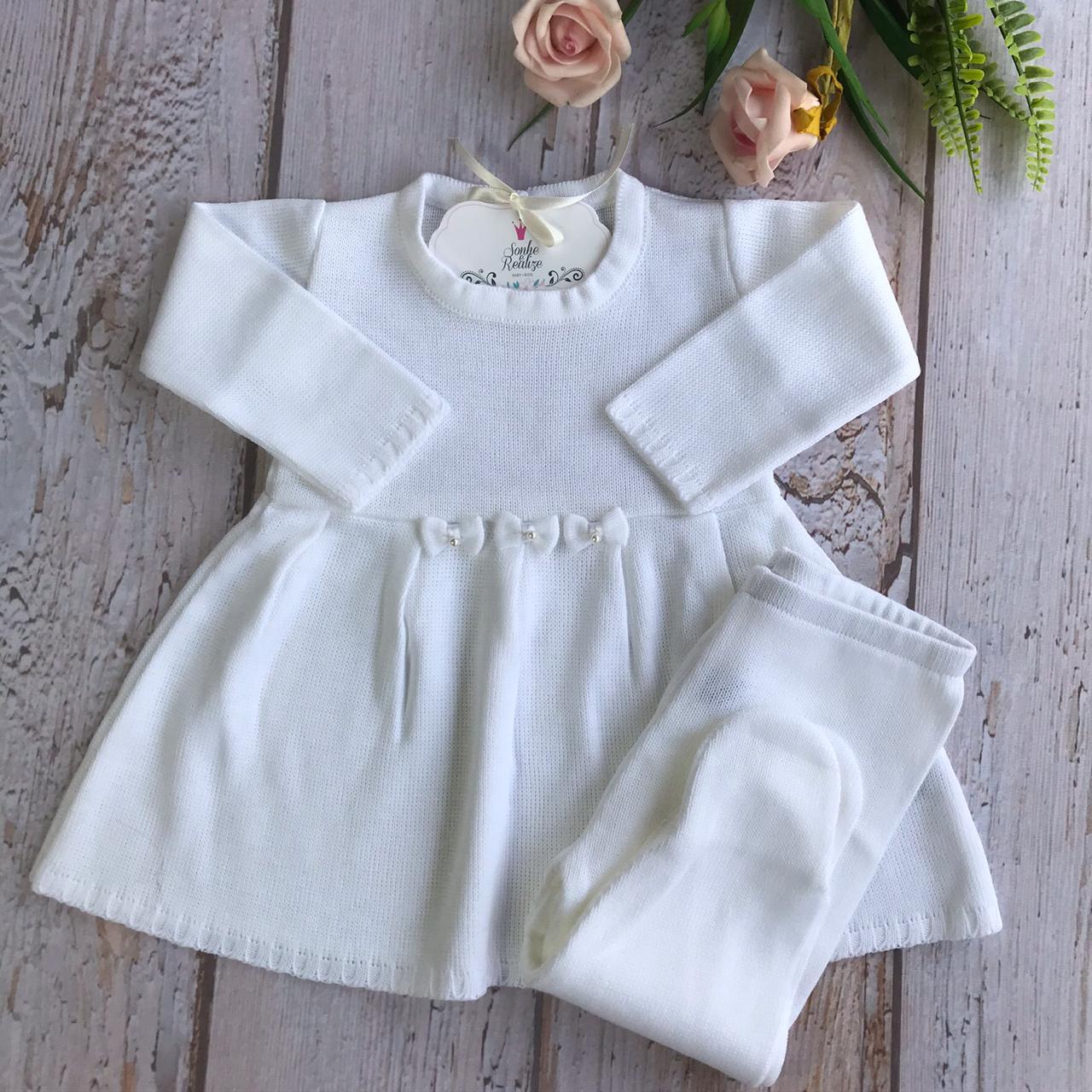 Conjunto Vestido + Calça  Laços - Branco