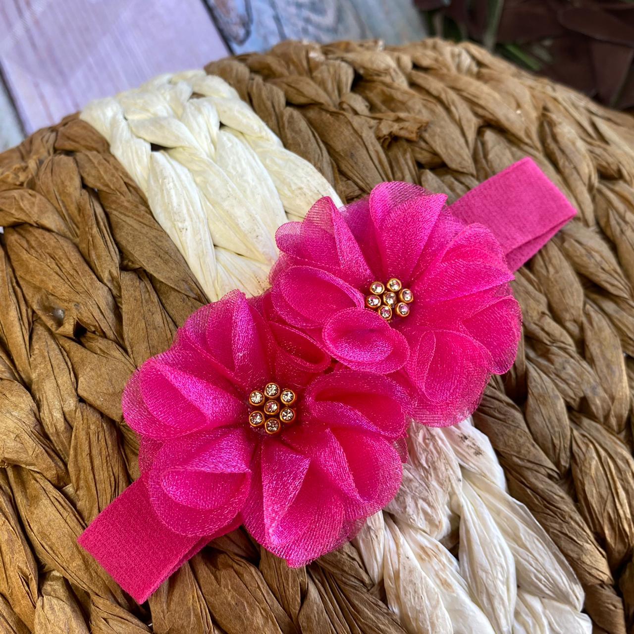 Faixinha Flor STRASS  -  ( Branco / Pink / Marinho)