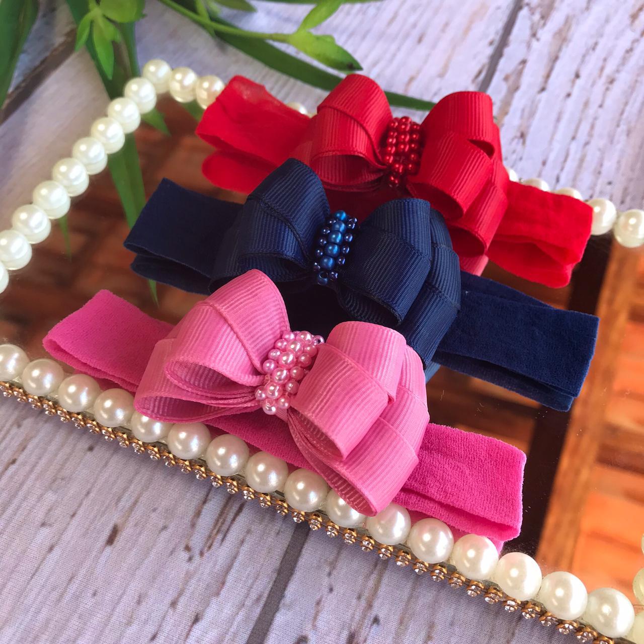 Faixinha laço Encanto - ( Marinho/vermelho e Rosa pink)