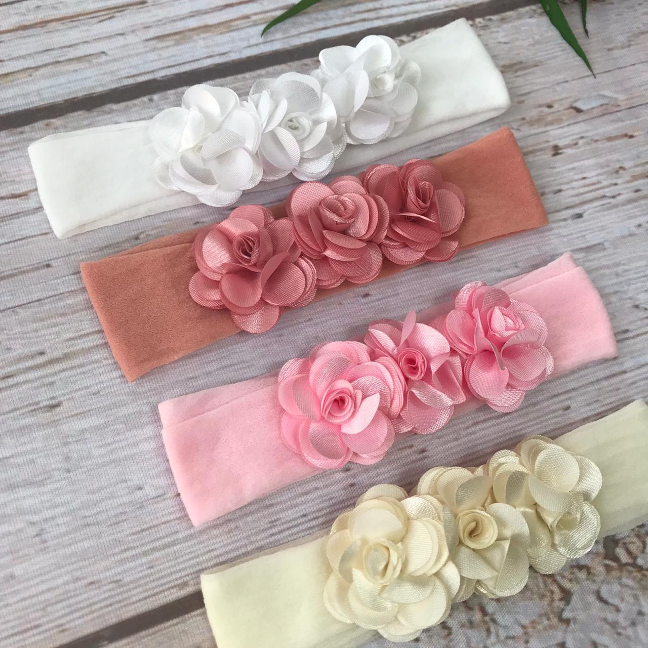 Faixinha Luxo Floral -  ( Branco / Off White / Rosê / Rosa )