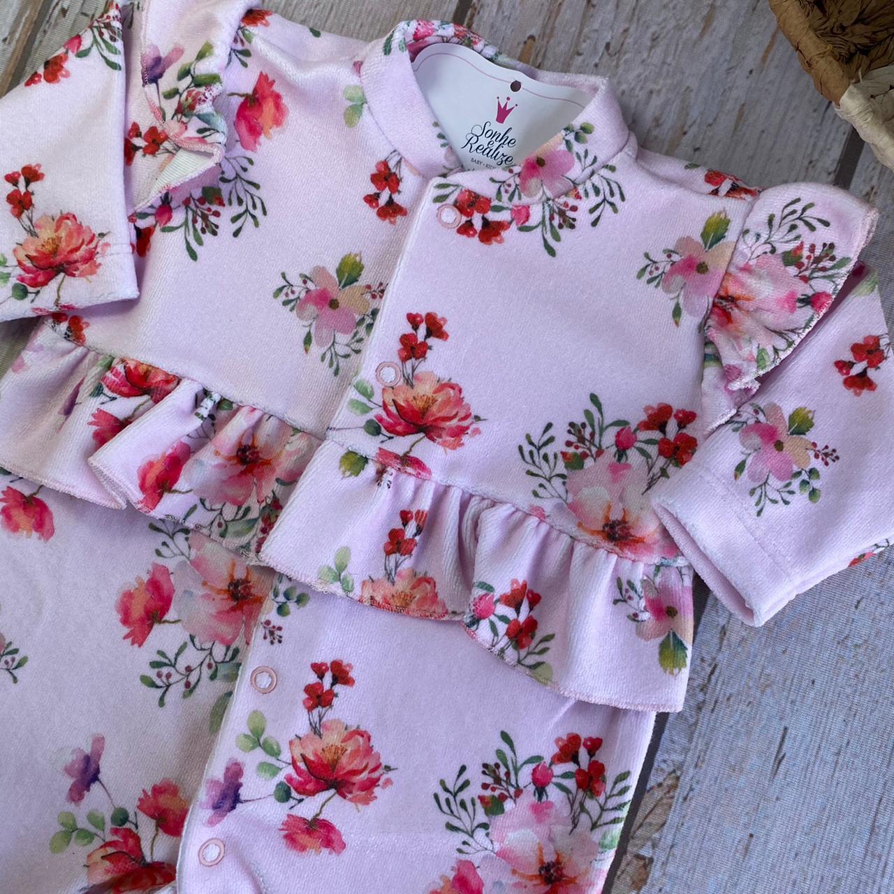 Macacão Floral (Soft) - Rosa