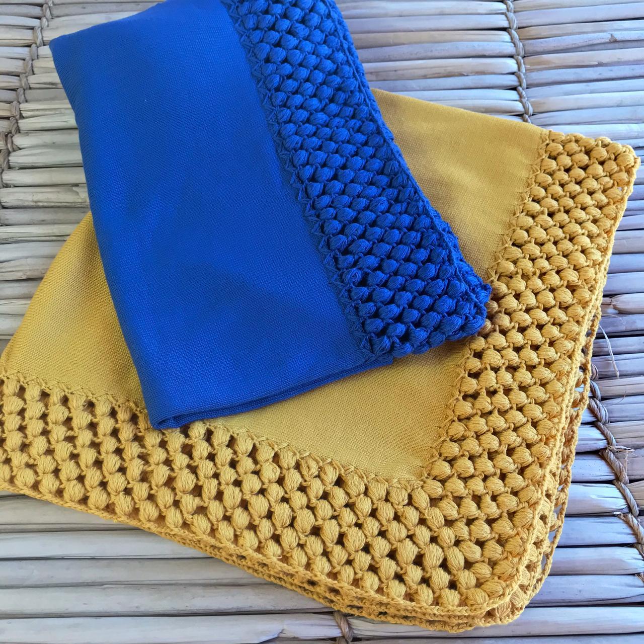 Manta Pipoquinha - ( Azul Jeans e Pingo de Ouro )