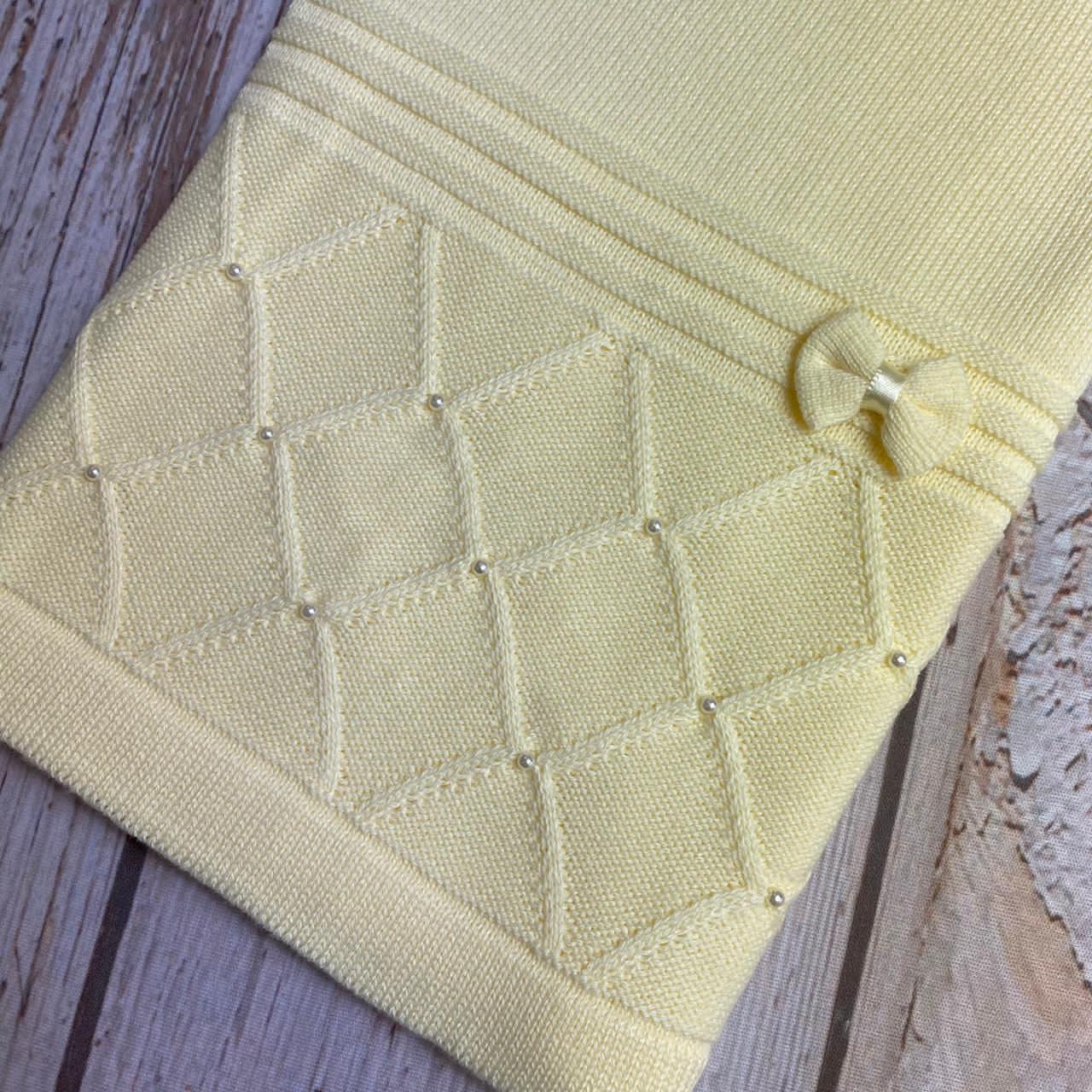 Manta Tricô  Bordado -  ( Amarelo )