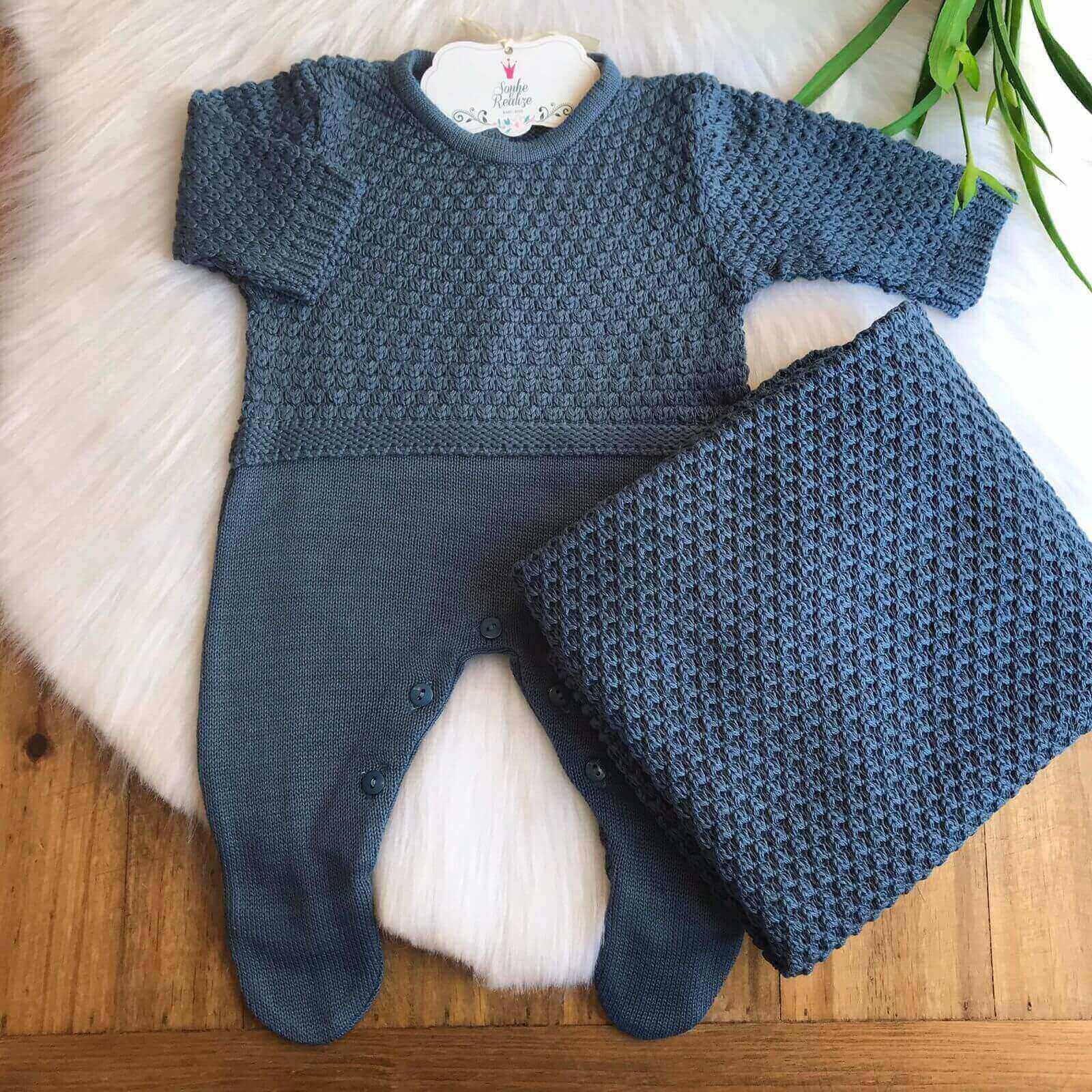 Saída de Maternidade Algodão Doce -  Azul Jeans