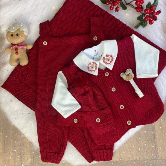 Saída De Maternidade Boneco de Neve - Vermelho escuro  * 4 Peças