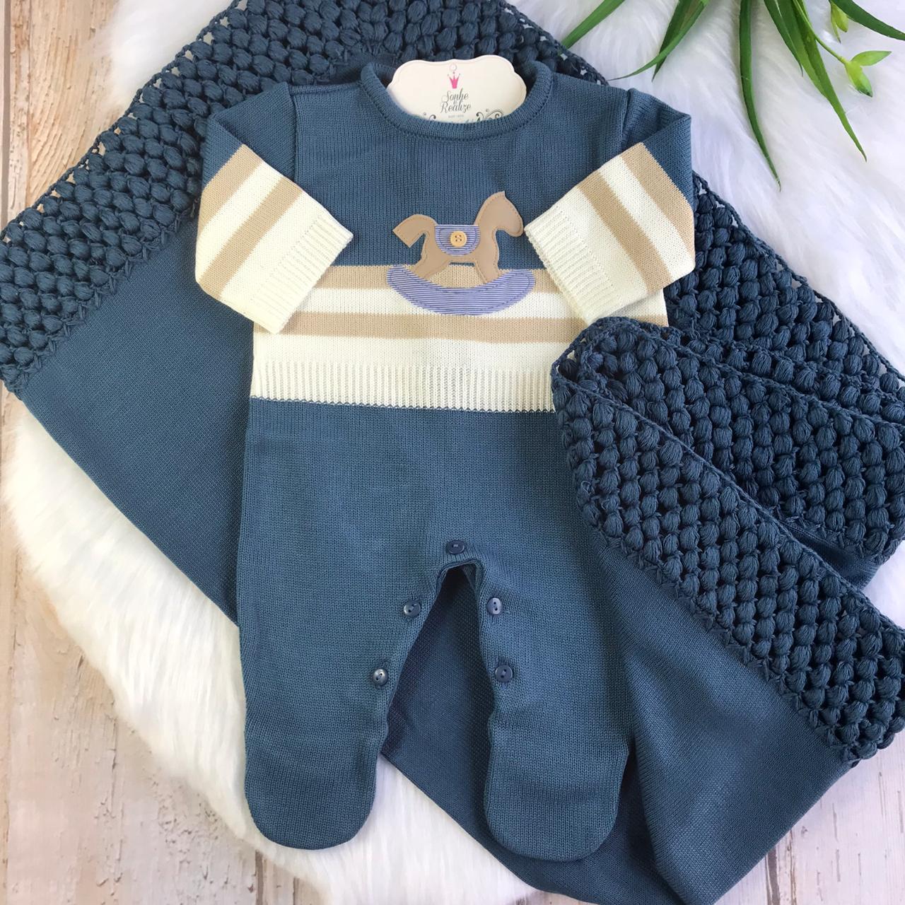 Saída de Maternidade Cavalinho - Azul Jeans