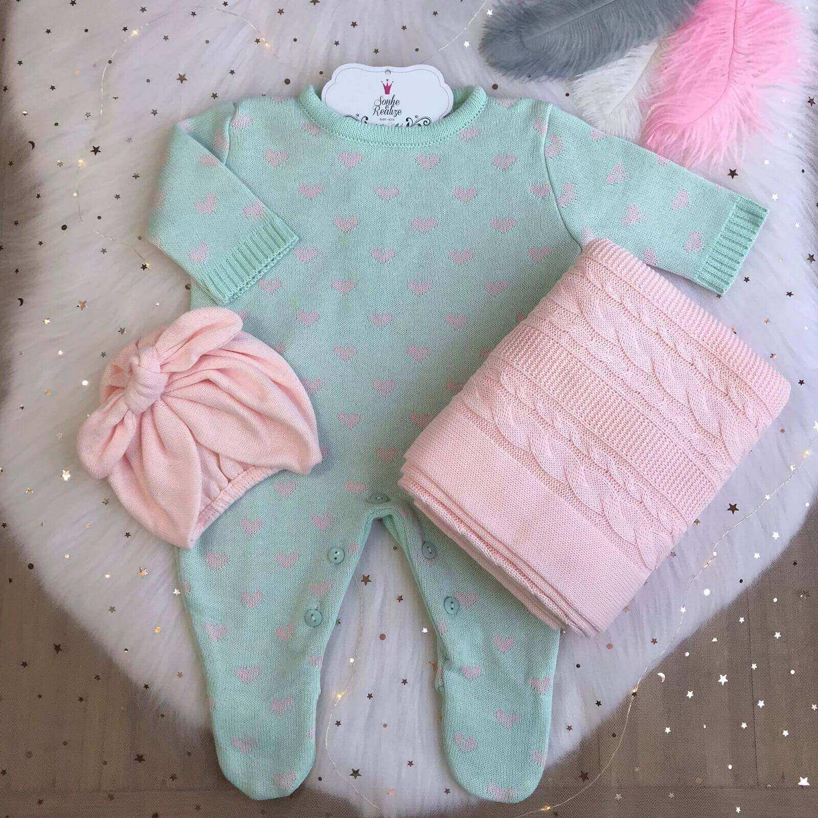 Saída de Maternidade Corações - Verde/Rosa