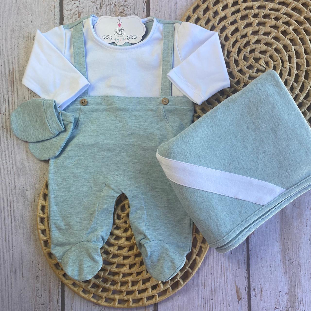 Saída de Maternidade Juninho - verde/Branco (COLEÇÃO OUTONO 2021)