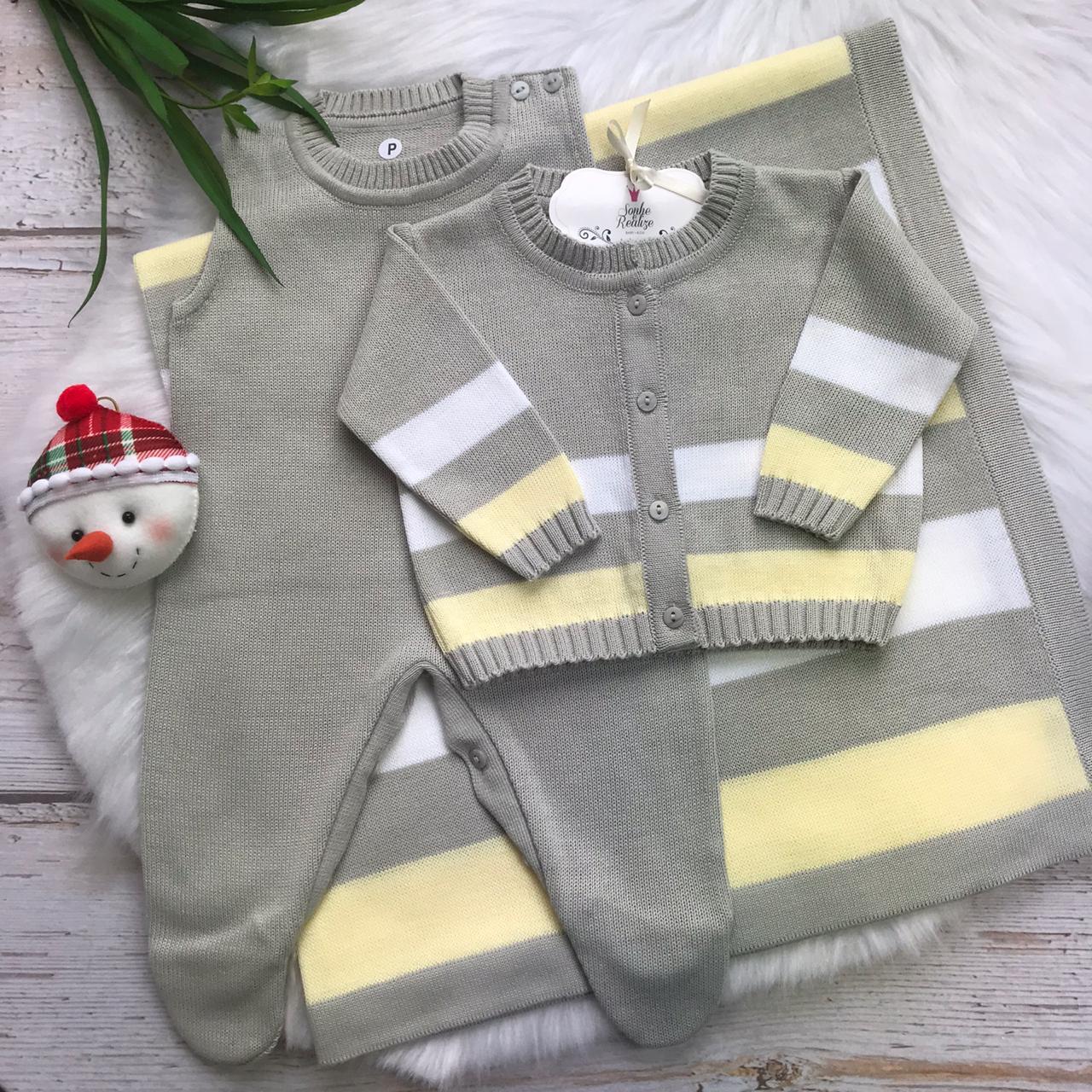 Saída de Maternidade Listrado - Cinza e Amarelo