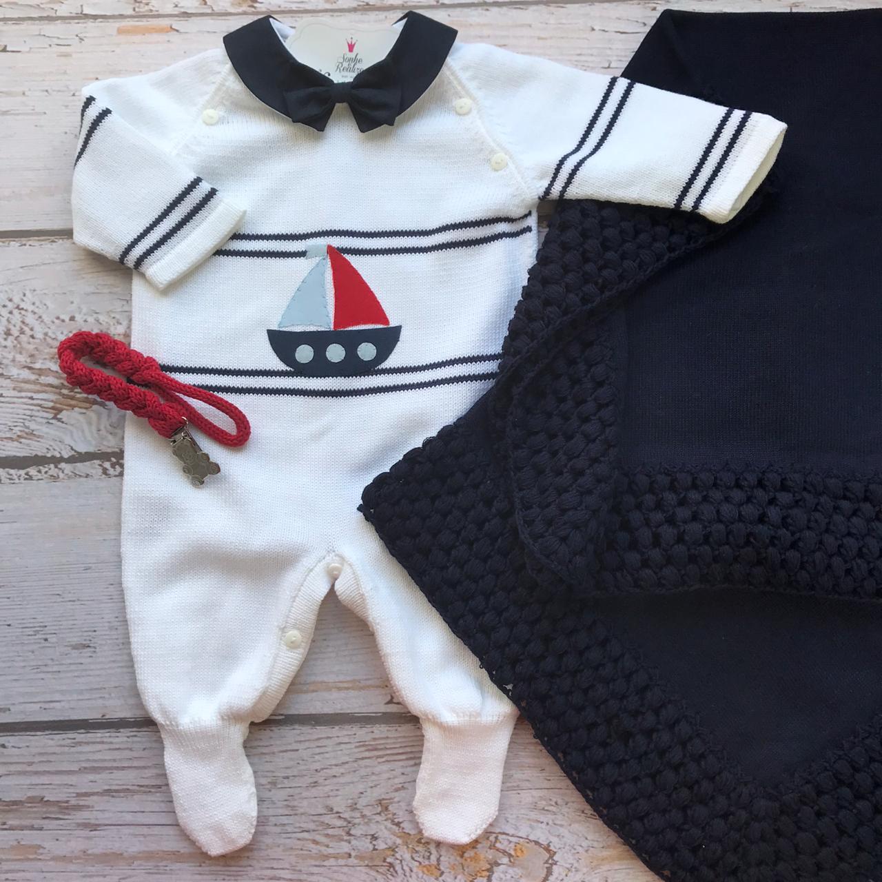 Saida de Maternidade Náutico - Branco/ Marinho * Não Acompanha Acessórios
