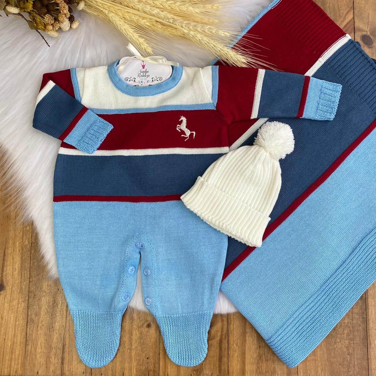 Saída De Maternidade Polo - Azul/Vermelho   * 3 Peças