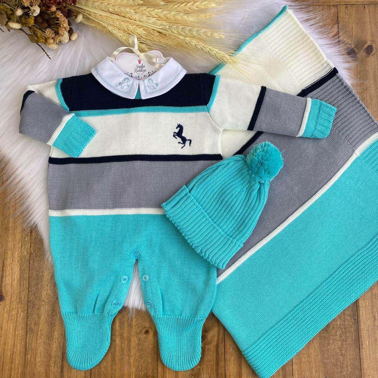 Saída De Maternidade Polo - Verde  * 3 Peças