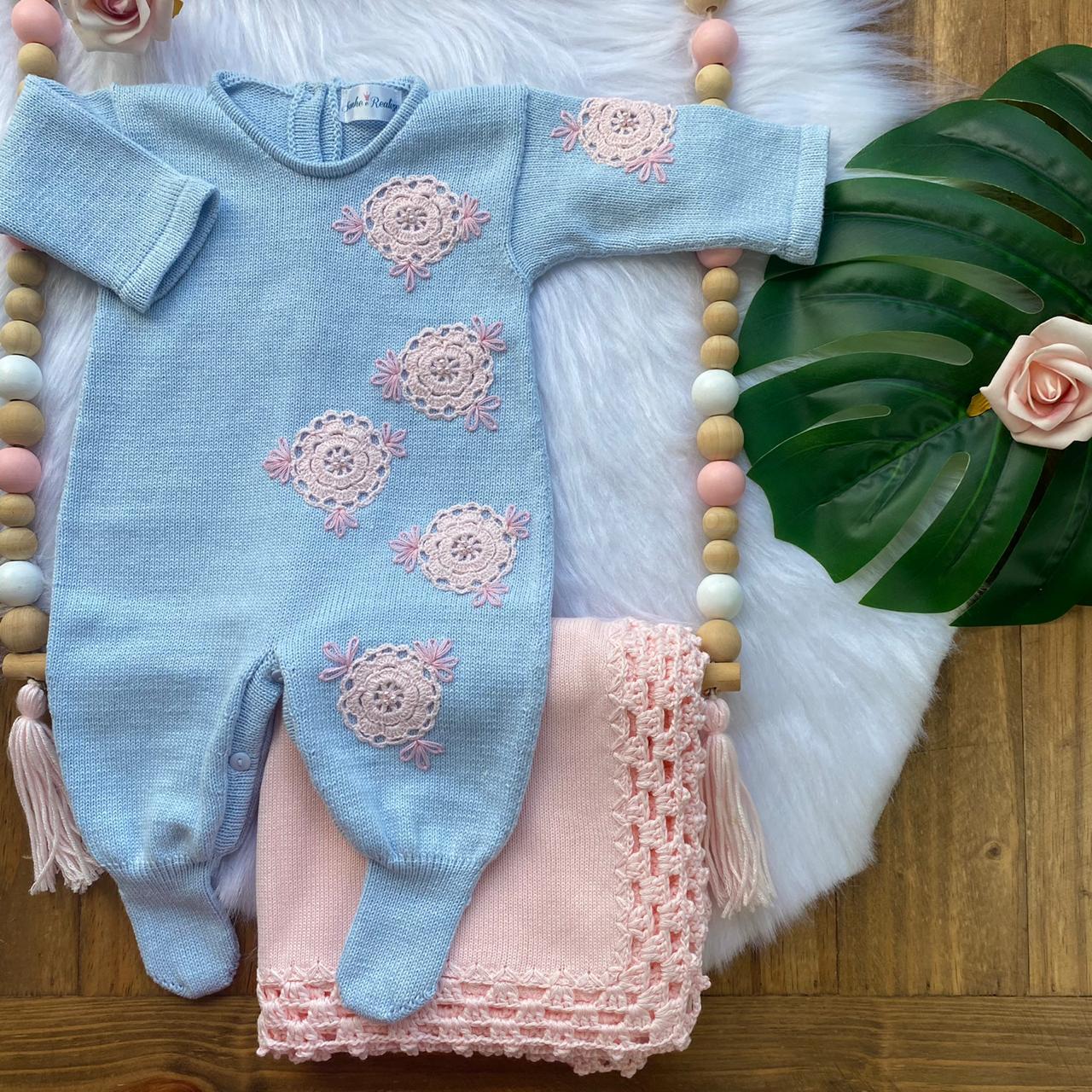 Saída de Maternidade Rosetas - Azul e Rosa