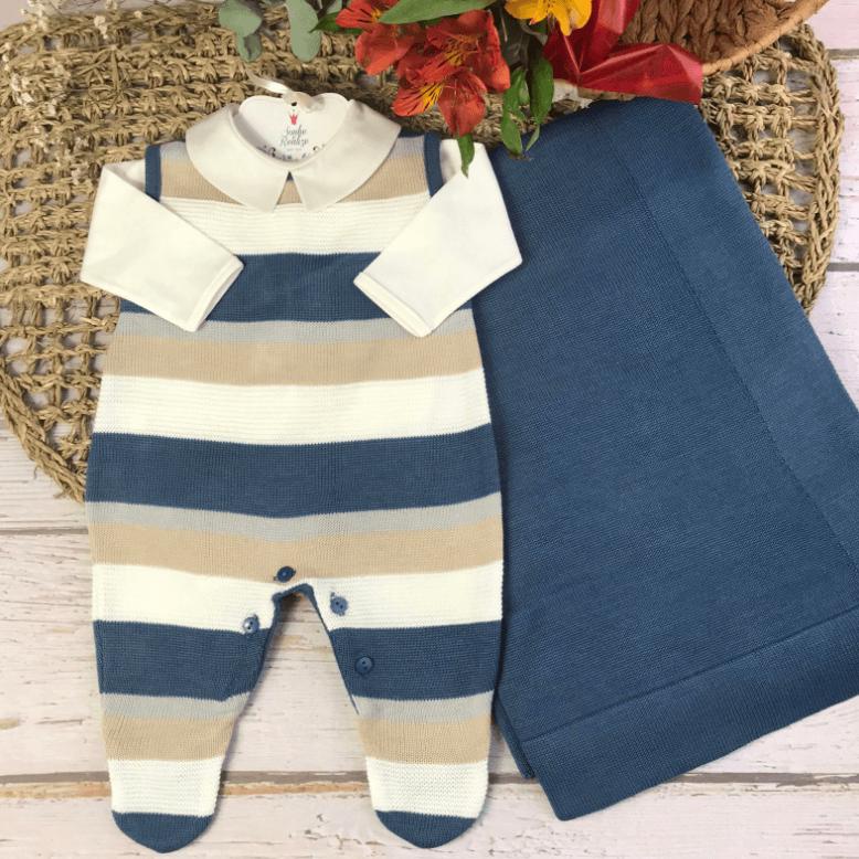 Saída de Maternidade Salopete *3 Peças William - Azul Jeans