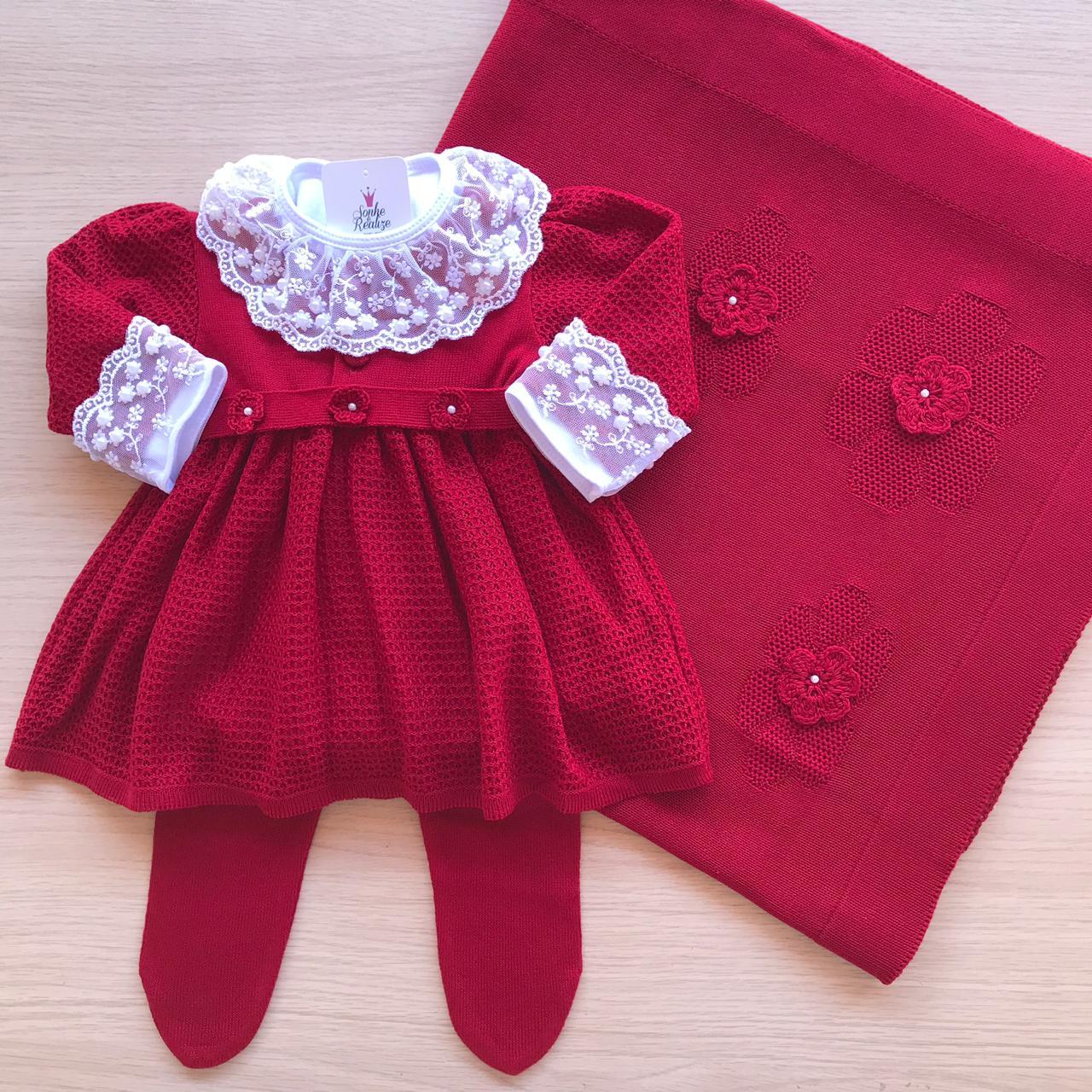 Saída de Maternidade Vestido Matilda - Vermelho Escuro