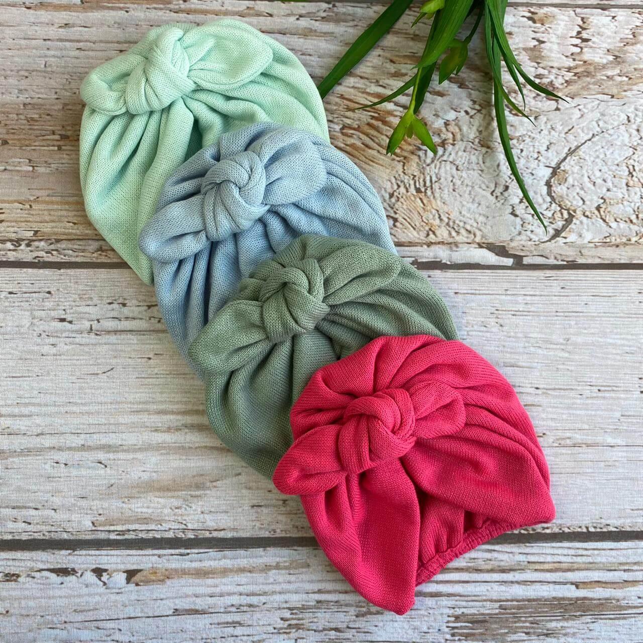 Turbante Nó -  ( Verde/Pink/Azul/ Verde escuro)