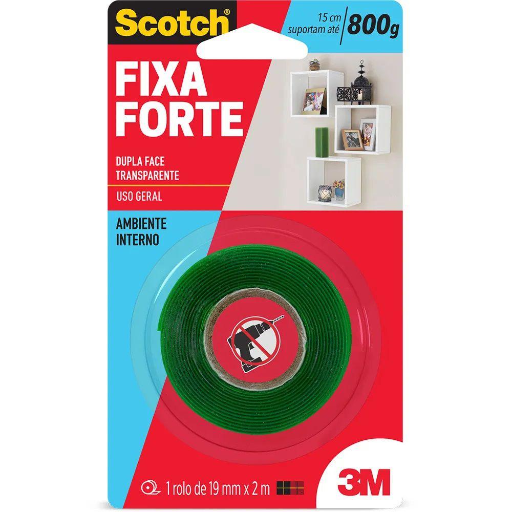 Fita Dupla Face Fixa Forte Transparente - Scotch 3M