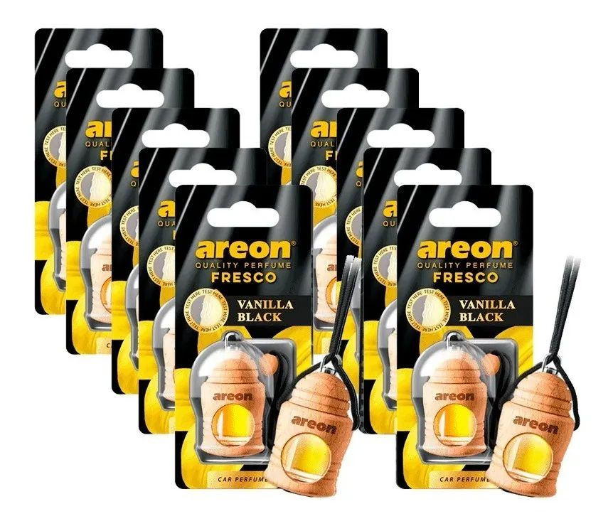 Kit 10 Aromatizante para Carros Areon Fresco Vanilla Black