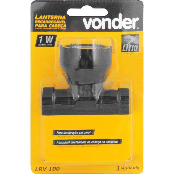 Lanterna Recarregável para Cabeça LED, LRV 100 - Vonder