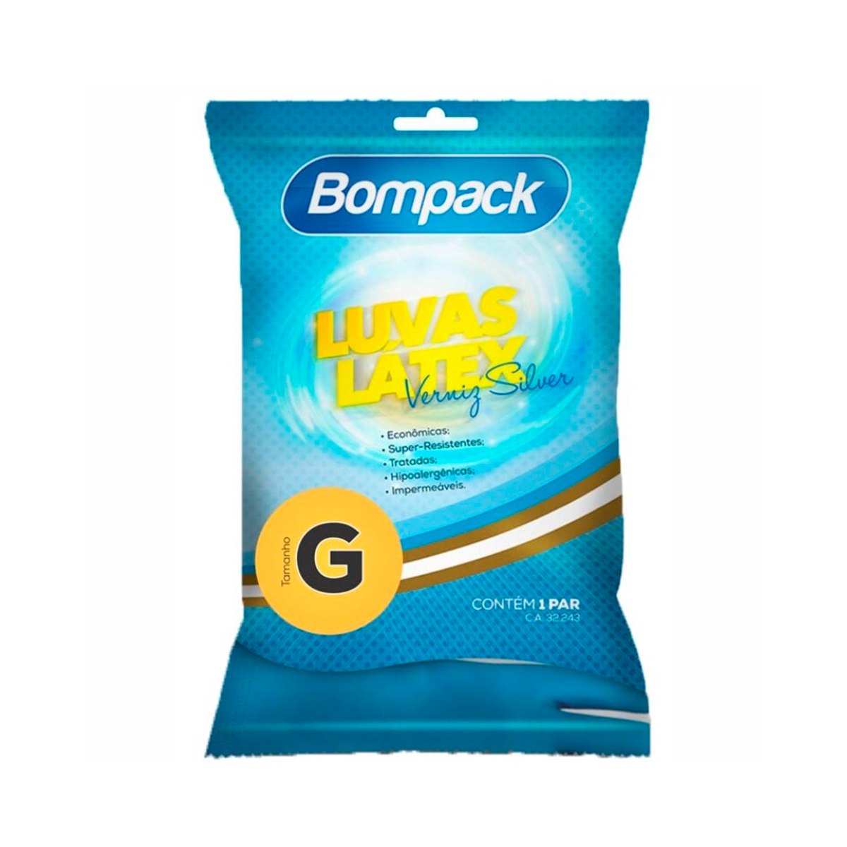 Luva Látex de Verniz Azul G - Bompack