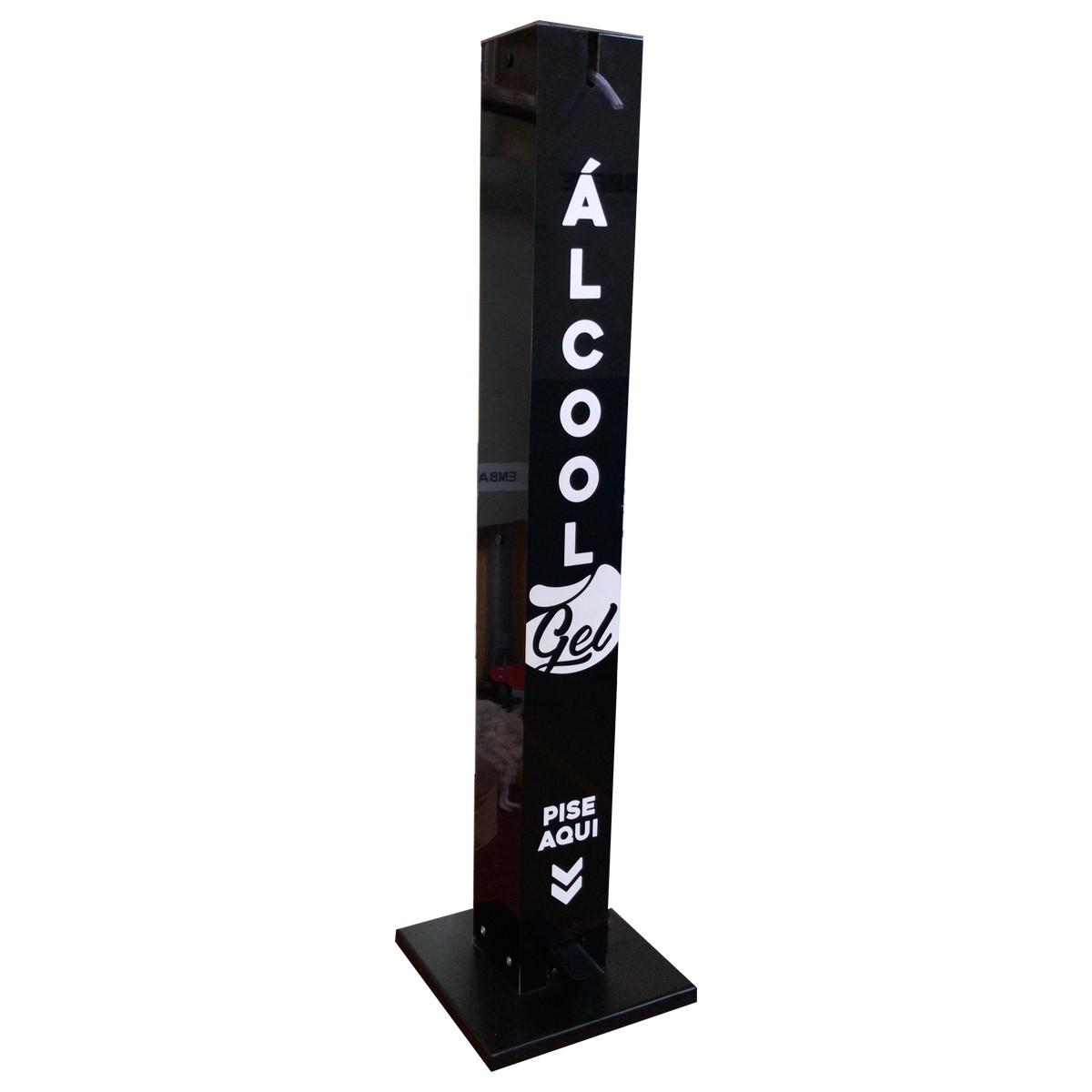 Totem de Álcool em Gel com Pedal Todo em Aço e Alumínio - Plusgel