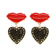 BRINCO LIPS BOCA RED METAL GOLD